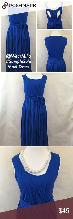 Sleeveless Blue Maxi Dress (Nursing/Maternity) Amazing and soft blue maxi dress with discreet nursing access. This modal fabric is stretchy and can accommodate a growing bump! But you can wear this long after the baby arrives too. Dresses Maxi