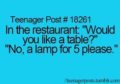 I Would Like A Lamp Please