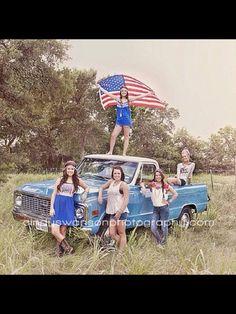 Senior Model rep for Cindy Swanson! Senior Pictures 2014-2015 #senior #Seniorpics #photography old truck, american flag, senior pics, HS senior, blue truck, dress