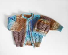 Knitted Baby Cardigan and Hat  Blue and Brown 3 by SasasHandcrafts, $42.00