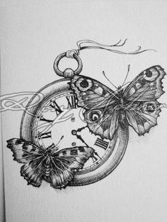 Time Flies | Rory Dobner.....would be an amazing tattoo... love time and love butterfly's perfect combo by Karon Roeth