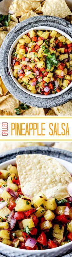 Sweet and smoky Grilled Pineapple salsa with not only grilled pineapple but…