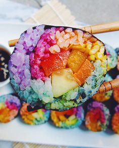 We've had rainbow bagels, rainbow doughnuts, and rainbow pancakes. Are we even a tiny bit surprised to learn that rainbow sushi exists in the world? How to make these colourful salmon rolls.