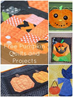 Free Pumpkin Quilt Patterns and Projects- Lot's to choose from! patchwork posse easy sewing projects and free quilt tutorials Fall Applique, Halloween Applique, Halloween Sewing, Halloween Quilts, Halloween Projects, Applique Patterns, Quilt Patterns, Patchwork Patterns, Halloween Fun