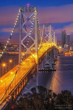 Photograph Yellow Brick Road - Bay Bridge at Night San Francisco by Aaron Reed on 500px