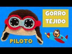 Gorro tejido de Piloto aviador   3-6 meses - YouTube