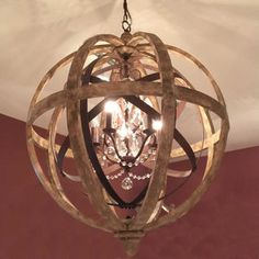 Wooden Orb Chandelier Metal Orb Detail And Crystal £899