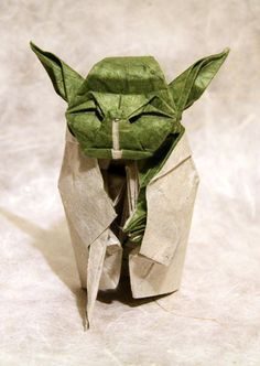 Diagram by Fumiyaki Kawahata. Folded by me. Unryu paper backcoated to lokta paper x May the Force be with you. Origami Yoda, Origami Design, Paper Folding, Paper Crafts, Gift Wrapping, Create, Diagram, Star Wars, Notes