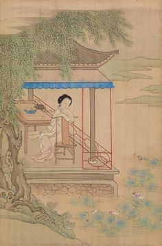 In the style of Qiu Ying. Seated Girl on Porch, Late century. Chinese black ink and heavily applied pigments on silk, Overall: 11 x 7 in. Original Artwork, Original Paintings, Barnes Foundation, Fine Art Prints, Canvas Prints, China Art, Canvas Paper, China Painting, Botanical Illustration