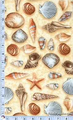 Reef - Tossed Seashells on Sand - Fish & Sea Life, Elkabee's Fabric Paradise.com, LLC