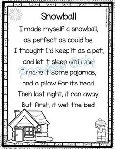 Snowball | Winter poems for kids | funny | printable | poetry notebook | Poem of the week