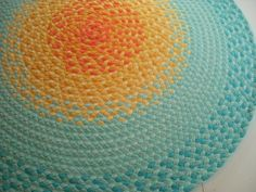 misty mint and golden yellow Sun Rug created from New Organic USA fabric. $125.00, via Etsy.