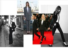 Le Smoking by Hedi Slimane and Yves Saint Laurent, Emma Stone and Aymeline Valade
