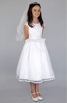 online shopping for Us Angels Lace Peplum Organza Dress (Little Girls, Big Girls & Girls' Plus) from top store. See new offer for Us Angels Lace Peplum Organza Dress (Little Girls, Big Girls & Girls' Plus) Girls First Communion Dresses, Holy Communion Dresses, Lace Peplum, Lace Dress, Lace Flower Girls, Flower Girl Dresses, Baby Girl Dress Patterns, Angel Dress, Organza Dress