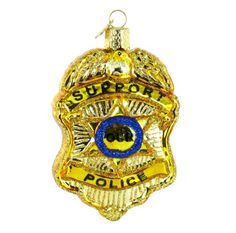 Old World Christmas Police Badge Glass Blown Ornament ** Details can be found by clicking on the image.