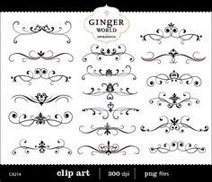 Calligraphy Flourish Clip Art | Flourish Clip Art Swirl vintage Border Calligraphy digital ...