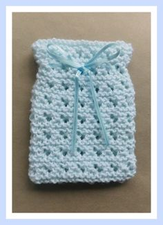 a pattern for a knitted little special treasure gift bag. I made this in a pale aqua yarn. Dishcloth Knitting Patterns, Loom Knitting, Free Knitting, Baby Knitting, Crochet Patterns, Purse Patterns, Sewing Patterns, Knit Or Crochet, Crochet Baby