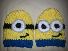 Loom Knit Minion Hats, In the middle of making one! Spool Knitting, Loom Knitting Projects, Loom Knitting Patterns, Yarn Projects, Baby Knitting, Knitting Ideas, Knitting Looms, Loom Crochet, Loom Knit Hat
