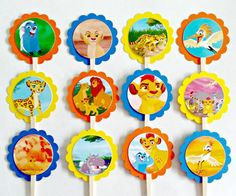 The perfect addition to your Lion Guard party! Our toppers are made from two layers of cardstock with a wooden stick attached between. Scallop