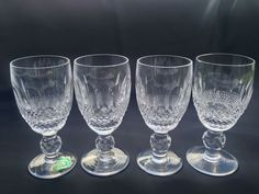 Set of 4 Waterford Crystal Signed Colleen Claret Wine Glasses