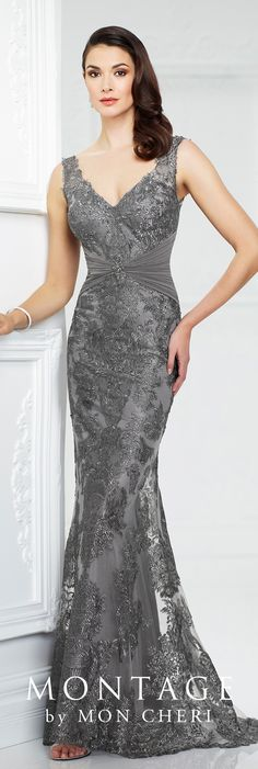 Formal Evening Gowns by Mon Cheri - Fall 2017 - Style No. 217942 - smoke gray sleeveless metallic lace and tulle fit and flare evening dress
