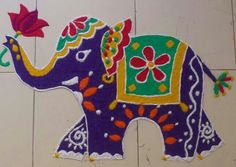 Elephant rangoli
