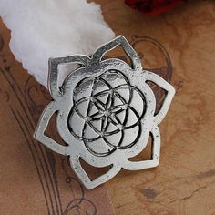"""Flower Of Life Embellishments Findings Flower Antique silver color Carved Hollow 29mm(1 1/8"""") x 25mm(1""""), 10 PCs"""