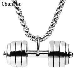 High Quality Mens Jewelry Dumbell Necklace Stainless Steel. 66af333339