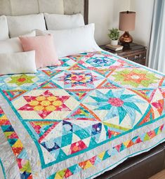 This cheerful block of the month quilt will add color to your home with fabric from the On Your Mark Collection by Paintbrush Studio. Quilting For Beginners, Quilting Tips, Sewing Projects For Beginners, Quilting Projects, Hexagon Quilt Pattern, Quilt Patterns Free, Pattern Blocks, Dress Patterns, Block Patterns