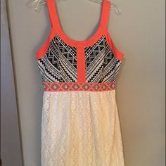 cute summer dress! Only worn once Tribal print and lace sun dress. Only worn once. Perfect condition! Flying Tomato Dresses