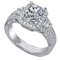 Cushion Diamond Halo Engagement Ring Trapezoids Side Diamonds - ES1032