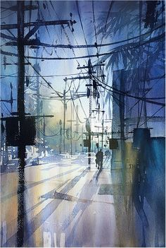 Abstractions of Light - Los Angeles Thomas W Schaller - Watercolor 22x14 inches 24 Jan 2016