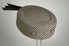 Checked worsted wool pillbox hat, Bullock's Department Store, American, c. 1950.