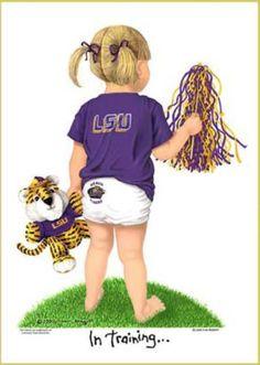 In Training LSU Tigers Football Cheerleader Art Print