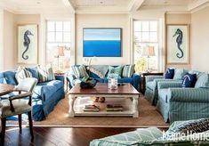 Fun blue living room in Kennebunk, ME home by Hurlbutt Designs {House of Turquoise} Coastal Living Rooms, My Living Room, Home And Living, Living Room Decor, Living Area, Cozy Living, House Of Turquoise, Beach House Decor, Home Decor