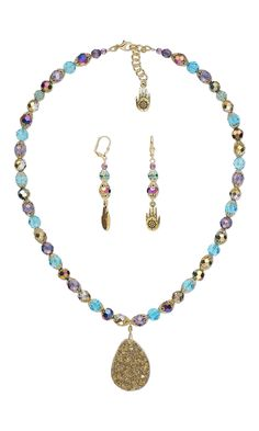 Jewelry Design - Single-Strand Necklace and Earring Set with Druzy Agate Focal, Czech Fire-Polished Glass Beads and Celestial Crystal® Beads - Fire Mountain Gems and Beads