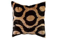 Velvet Ikat 18x18 Pillow, Black