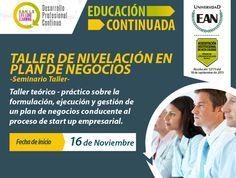 Inscríbete al Taller de Nivelación en Plan de Negocios. Inicia el 16 de noviembre #EANL3