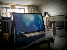 "Mac Pro 2013 desk setup features a swivel mounted 27"" Apple Cinema Display, and a Retina MacBook Pro and iPad... awesome"