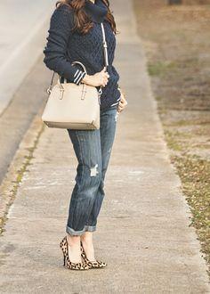 Sweater Weather! Winter Outfit Idea. Leopard heels, navy blue sweater, crossbody bag, boyfriend jeans on Peaches In A Pod blog.