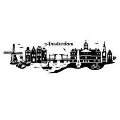Amsterdam skyline with typography design photo artwork for Tattoo amsterdam walk in