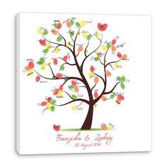 ♥Der Fingerabdruck Baum ist auf eine Leinwand und wird zur♥ Hochzeit als Hochzeitsspiel mit Fingerabdrücken als wedding tree versehen. Hochzeitsspi...