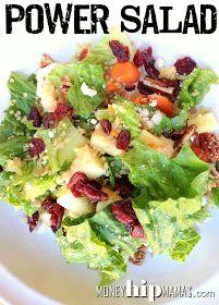 Great for a healthy lunch! POWER SALAD recipe: Quinoa, romaine, kale, spinach, apple, craisins, jicama, carrots, sunflower seeds, pecans, feta, italian dressing. #salad #recipe #healthy #powerfood