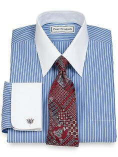 Amazon.com: Paul Fredrick Men's Non-Iron Straight Collar French Cuffs Dress Shirt: Clothing