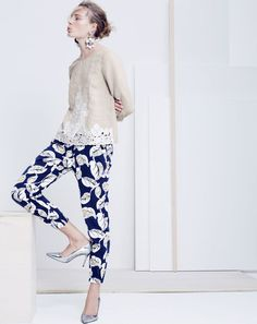 MAY '15 Style Guide: J.Crew women's embroidered linen top and linen tropical frond pant.