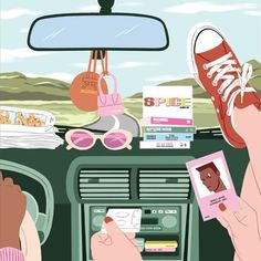 Turn up the music, roll down the windows, and hit the open road! This 500-piece puzzle is buzzing with GIRL POWER vibes and sweet notes of nostalgia. You'll be able to piece together this puzzle in a single night, but it's cute enough to leave unfinished on the table, too. Grab your favorite cassettes and a girlfriend – it's time for your next adventure. 500 pieces measures 18x24 inches upon completion Art by Ana Hard printed with vivid soy-based ink Illustration Girl, Digital Illustration, Pop Art, Vogue Spain, Graphic Design Software, Love Painting, Aesthetic Art, Cool Drawings, Aesthetic Wallpapers