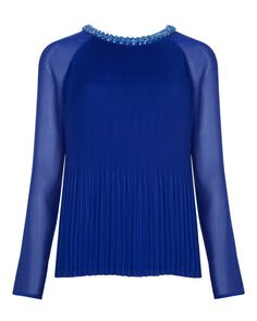 Beaded neckline top - Bright Blue | Tops & T-shirts | Ted Baker UK