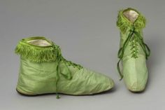 Green silk half-boots, 1818, MFA Boston