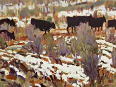 """""""CATTLE"""" by Brian Simons, Victoria, British Columbia // A recent painting of cattle in Utah painted from a photo taken on a recent road trip.  The painting is 30x36x2 acrylic on canvas. Unframed.    http://www.briansimons.com // Imagekind.com -- Buy stunning fine art prints, framed prints and canvas prints directly from independent working artists and photographers."""