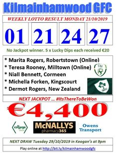 Support the fundraising efforts of Kilmainhamwood GFC, Kilmainhamwood Kells, Meath. Lotto Draw, Number Drawing, Text Messages, Fundraising, Dip, Texts, Numbers, 21st, Let It Be
